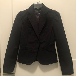 Gap Black Fine Pinstripes Puffy Sleeves Blazer 0
